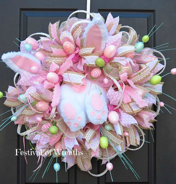 Easter Wreath  Easter Wreath for Front Door  by FestivalofWreaths