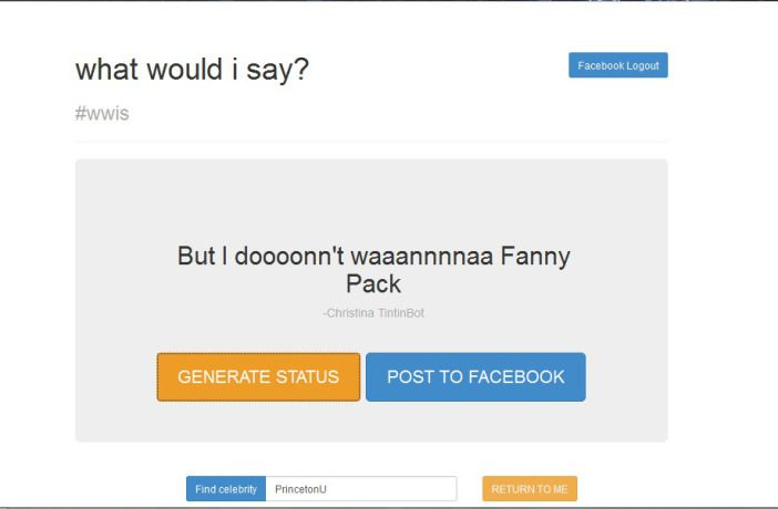 #WWIS What WOuld I Say Facebook App!
