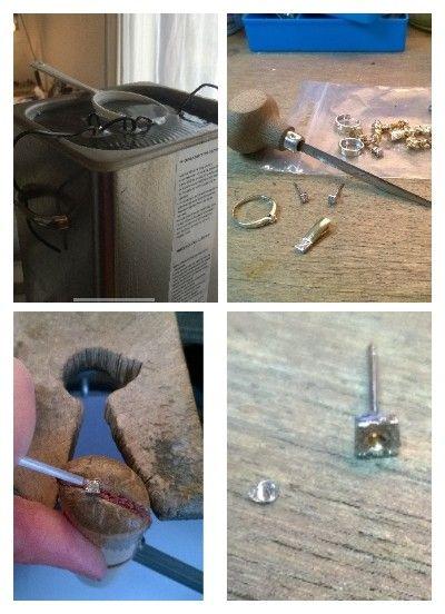 Allereerst maak ik de oude sieraden goed schoon en verwijder ik alle edelstenen.