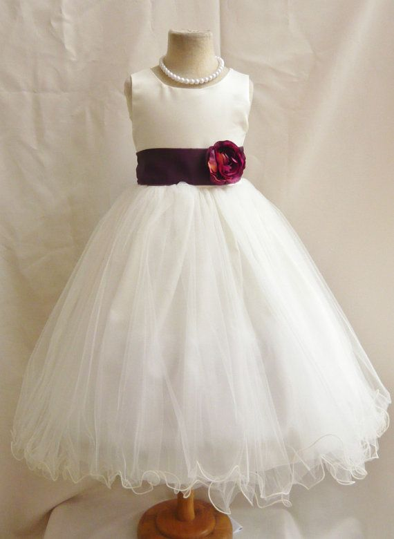 Flower Girl Dresses  IVORY with Purple Plum by NollaCollection