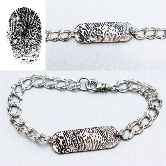 Fingerprint Sterling Silver Bracelet - Memorial fingerprint jewelry, Wedding Gift, Spouse Gift, Men's Bracelet Women's Bracelet - Get 10% off your purchase with Coupon Code PINIT