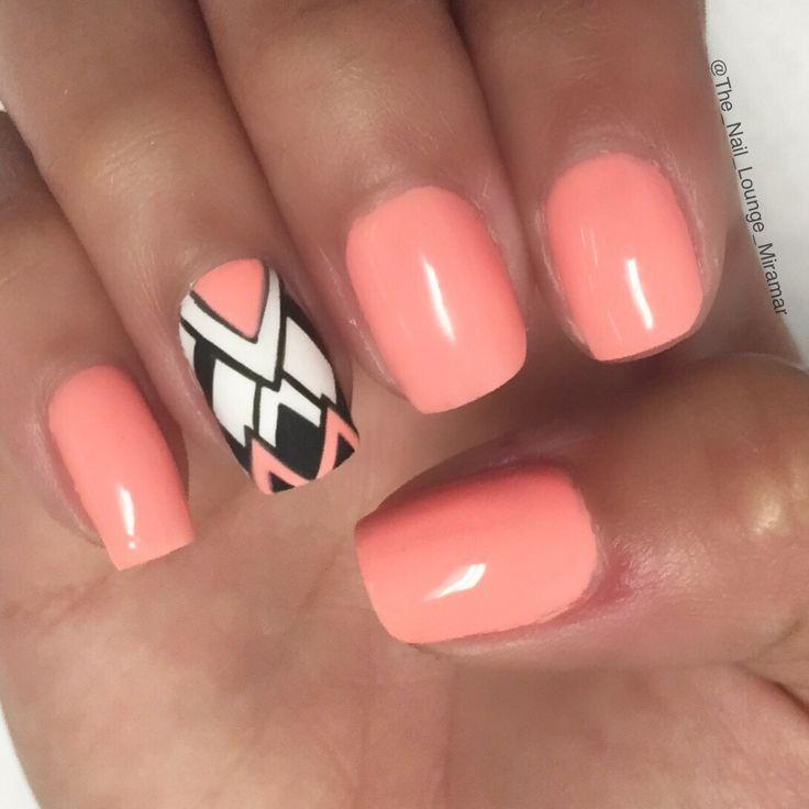 Coral peach abstract nail art design