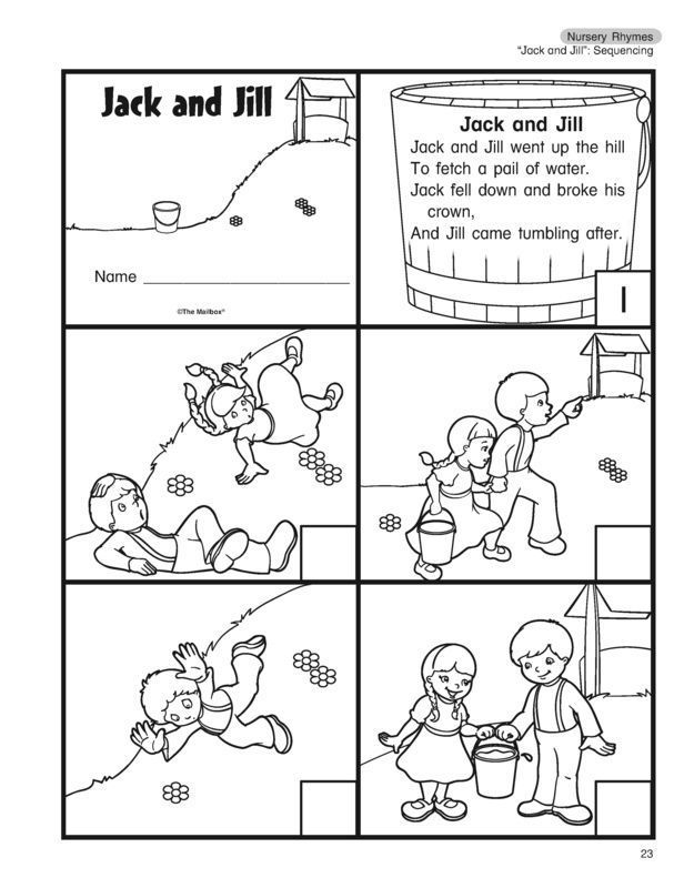Worksheets Nursery Rhyme Jack And Jill In 2020 Nursery Rhyme
