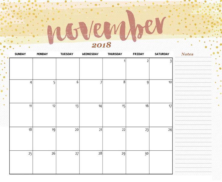 Cute November 2018 Calendar Printable 100+ November 2018 Printable