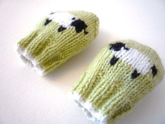 PDF KNITTING PATTERNS - baby mittens - little baa baa - newborn to 1 year, fingering wt yarn