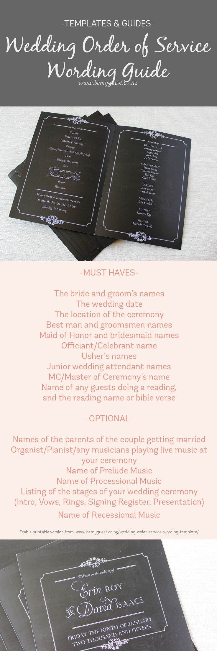 Order of Service Template Wording Template for a wedding - grab a printable template from http://www.southernbride.co.nz/wedding-order-service-wording-template/