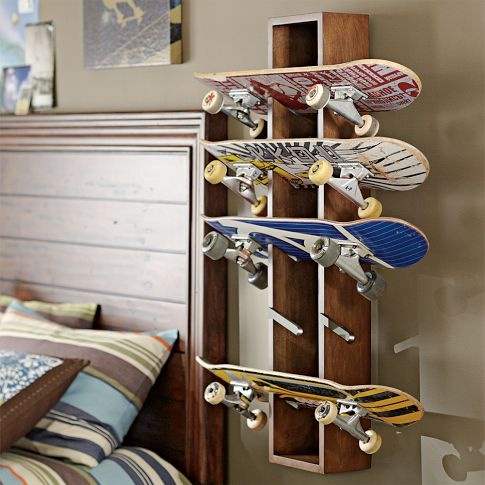 Mounted boards is a great idea to have for our londboards so they can be showcased more on the walls.  These will be right next to the skate decks.  This is a great way to display a complete deck.