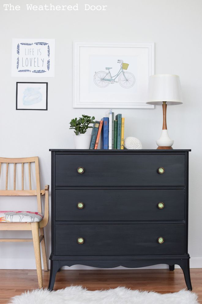 Black 3 drawer milk paint dresser with green and brass knobs WD-9