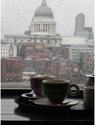 Best place to be when it snows: indoors with a coffee! London, overlooking St Paul's