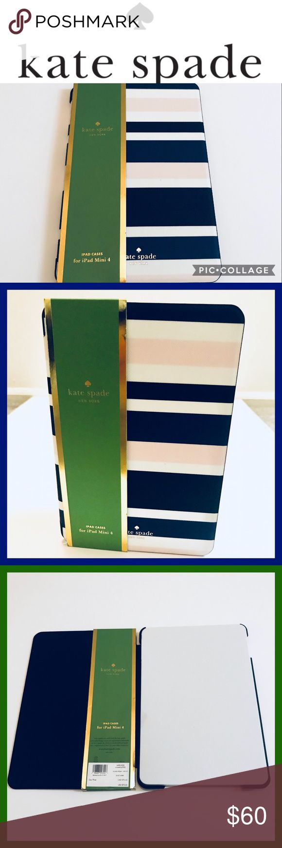 Kate Spade I Pad Mini 4 case Kate Spade I Pad Mini 4 case • New York Cruise Stripe • Grainy Vinyl Leather • Brand New with Tags • Dimensions: 8.5 x 4.2 x 0.8 kate spade Accessories Tablet Cases