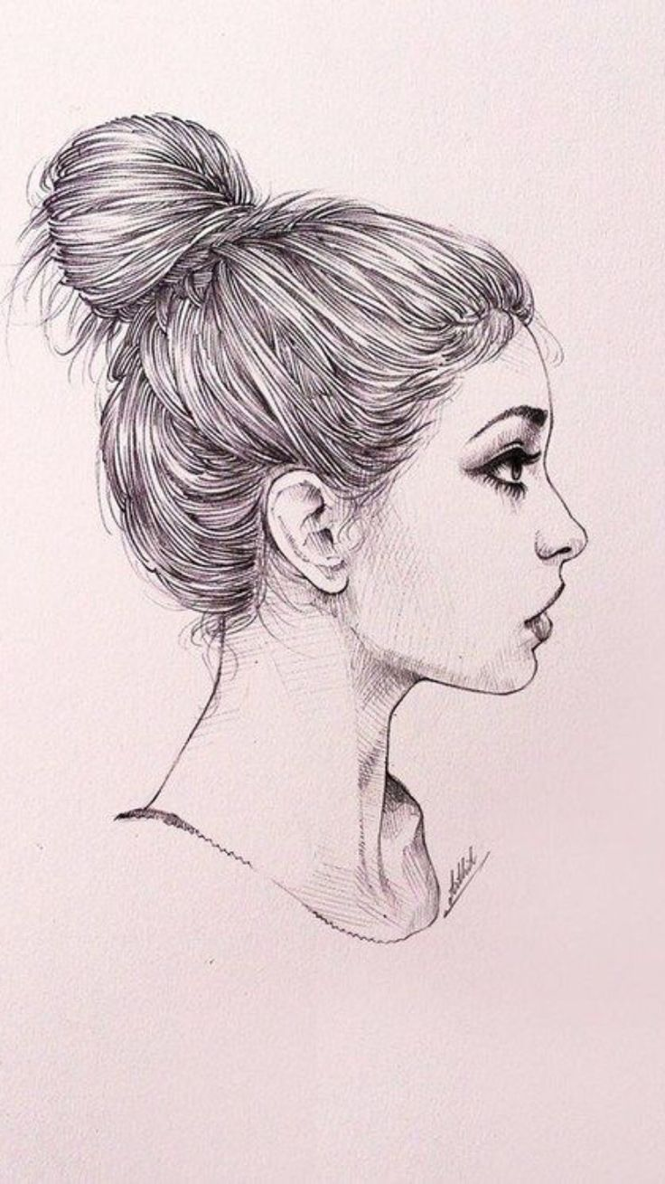 cute messy bun sketch t