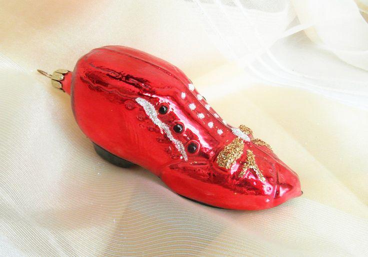 Baumschmuck: Sonstige - roter Schuh aus Glas, Lauscha, Weihnachtsdeko - ein Designerstück von Weihnachtsromantik bei DaWanda