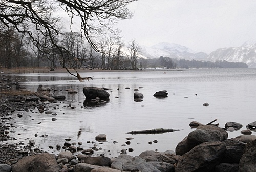 Ullswater near Pooley Bridge on a wintry Match day with snow about to fall (and probably already falling in the distance) - Cumbria