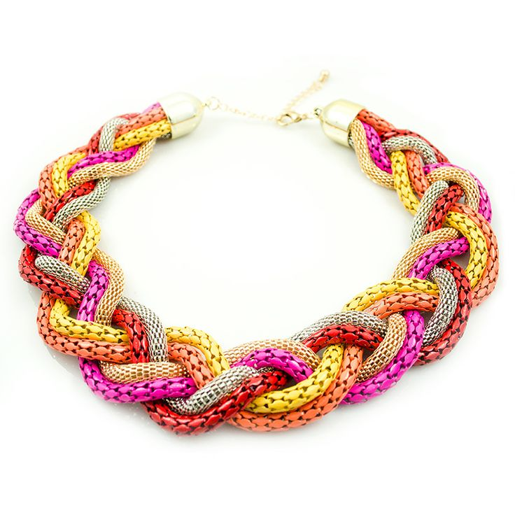 "Statement ketting ""Colorful Braid"" #statementketting #ketting #lanassieraden #chunky"