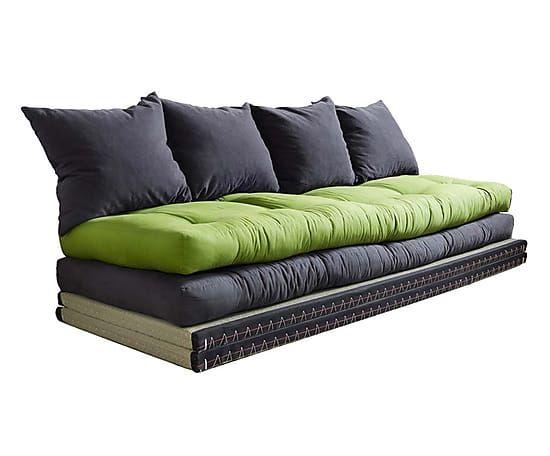 Divano/futon in cotone chico grey lime - 35x200x80 cm