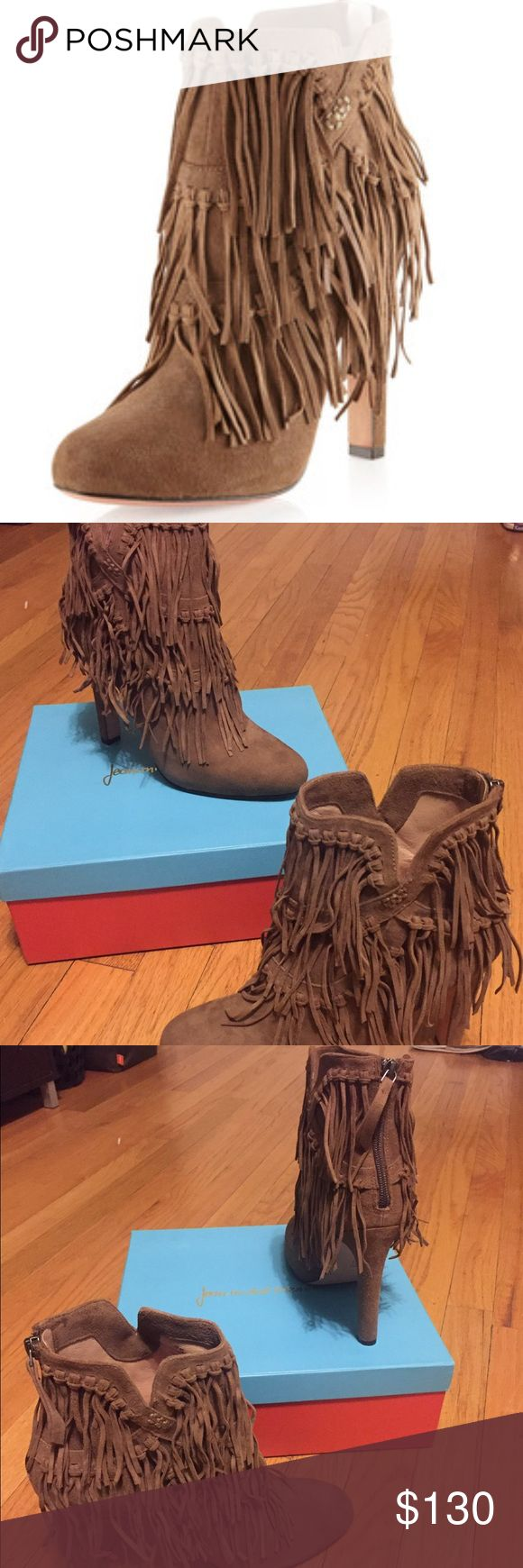 """NIB JEAN MICHEL CAZABAT Pepe Fringe Booties Sz 41 Guaranteed Authentic. Org retail: $400. New, never worn; comes with box, dust bag, and replacement heel tips. Brown suede boots, with fringe details. Back zip for easy on and off.  5"""" heel, 1"""" platform. Sz 41; fits a 9.5. Shoes have been store tried. NO TRADES. Open to offers through the offer button ☺ Jean Michel Cazabat Shoes Ankle Boots & Booties"""
