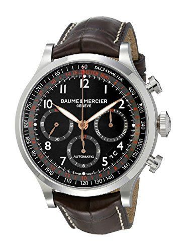 Baume and Mercier Capeland Black Dial Brown Leather Mens Watch MOA10067 @baumeetmercier #welovewatches - branded watches for mens, mens titanium watches, mens waterproof watches