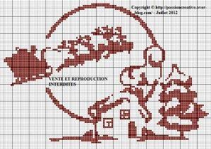 Grille gratuite point de croix : Noel paysage rouge   Point de croix, Point de croix noel et ...