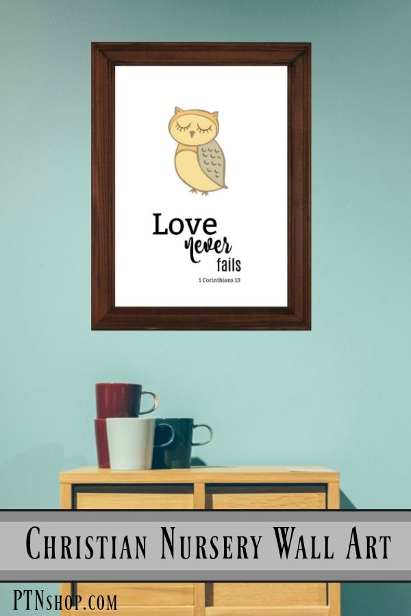 """Framed """"Love Never Fails"""" print. Printed on thick, durable, matte paper. Are you interested in this print in a different size? Framed? Digital download or on Canvas? Check out our shop for more options with this print! PTNshop.com  #PrintableArt, #PrintableWallArt, #ChristianArt, #FramedArt, #Poster, #ChristianFramedArt, #ChristianPoster, #NurseryPrint, #NurseryDecor, #DIYNursery, #NurseryWallAr"""