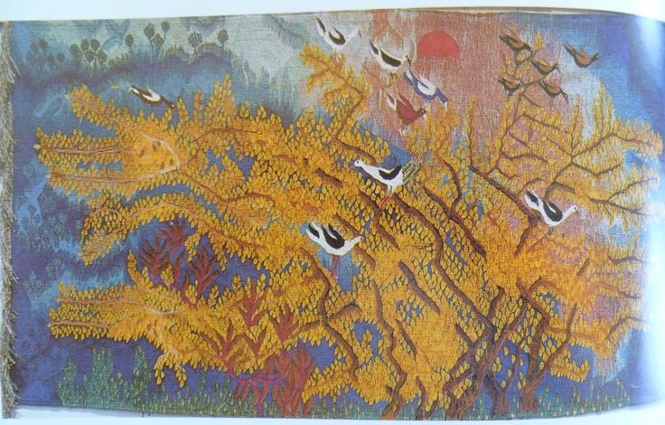 "Zeinab Badawi, Mimosa Tree at Sunset, 1974, Ramses Wissa Wassef Tapestry, Egypt Weaving. Image from ""Das Land am Nil"" 1979 exhibition catalog by Roemer- und Pelizaeus-Museum, Hildesheim, Germany.  Arne Eggebrecht, Director."