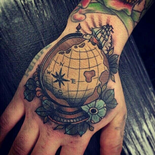 142 best images about globe world tattoos on pinterest for World in hands tattoo