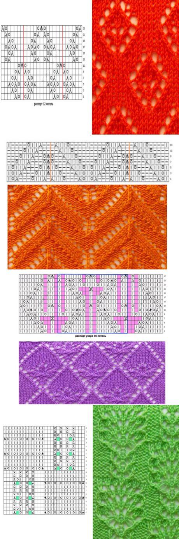 Рельефные и ажурные узоры для вязания спицами