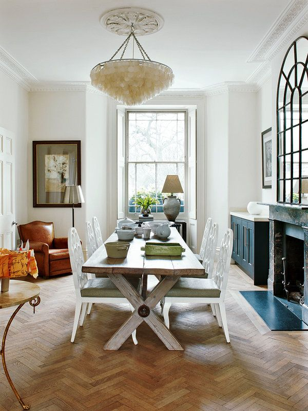 Dining room elegantly mixing formal with casual, traditional with contemporary