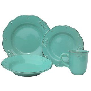 Melange Antique Edge Mint Stoneware Dinner Set 32-piece Place Setting, Serving for 8 - Free Shipping Today - Overstock.com - 19561166 - Mobile