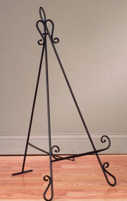 """Perfect for smaller items, this 40"""" high easel can be used on the floor or on a table top to create an elegant and eye catching display."""