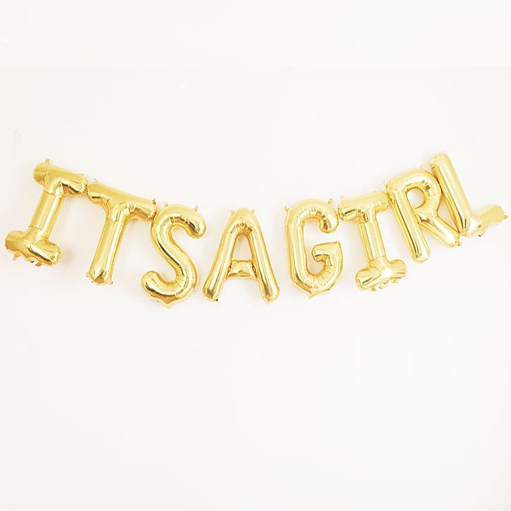 Looking for a fun and creative gender reveal idea? We think that this gold mylar banner makes for the perfect prop in a photo announcement! #genderreveal