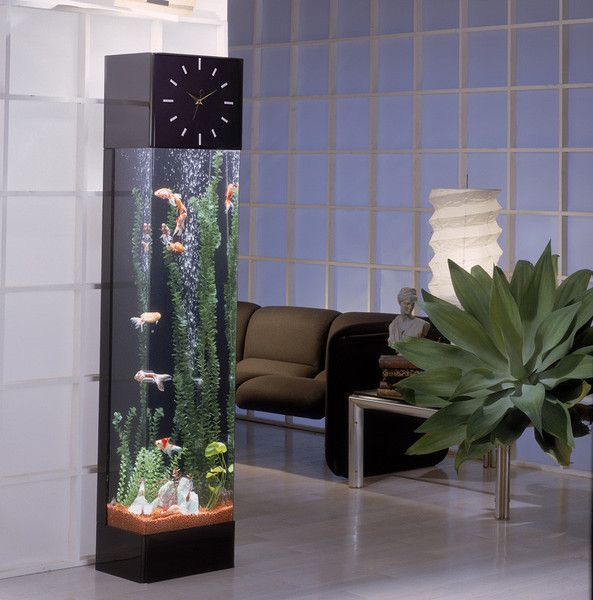 This rectangular aqua tower is chic and takes up minimal floor space with its unique tower design. Fluorescent light illuminates the tank from the top providing light to display the the aquarium.  A quartz clock movement is installed in the header with plexiglas facings and brass hands that add to its beauty.http://dreamfishtanks.com/collections/unique-fish-tanks/products/midwest-tropical-rectangle-clock-aquatower-30-gallon-freshwater-acrylic-aquarium-rt-3000-clock