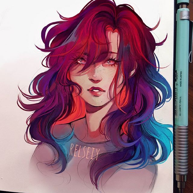 Coloured poofy haired Adilene! Its another colour experiment so what do you think? Also someone commented that this colourful style looks like stained glass which i kinda agree with XDD might call that actually.  #digitalart #كلنا_رسامين # messyhair #Relseiy_ocs