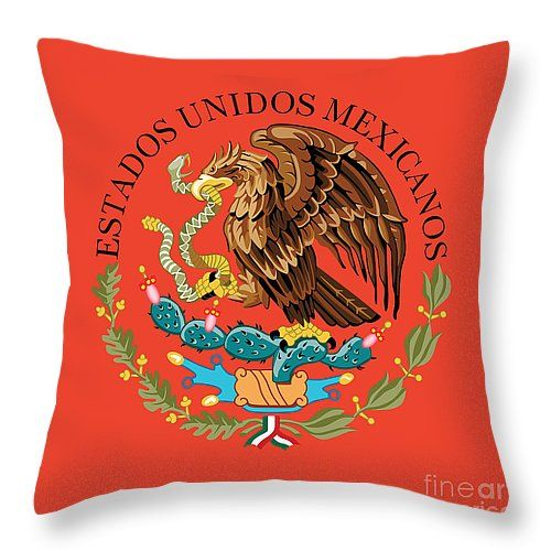 "Close up of the seal within the Mexican national flag Throw Pillow 14"" x 14"""
