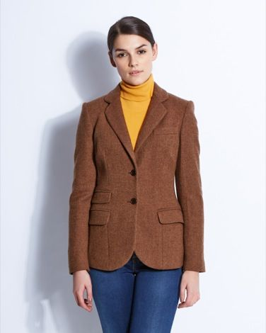 Herringbone jacket with stylish-pockets and classic suede elbow patches from Paul Costelloe Living Studio