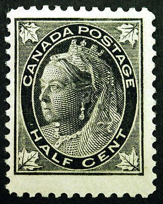 Canada #66 1/2c Black 1897 Queen Victoria Maple Leaf, VF Mint Lightly Hinged, well centered, all full gum, Fresh Intense Color. item # 131171663533