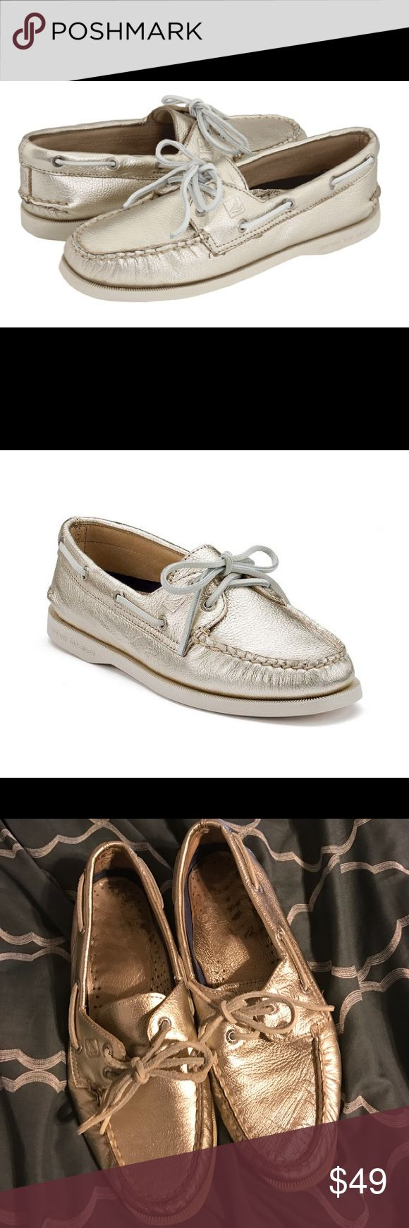 platinum gold sperry topsider boat shoes In EXCELLENT condition with minimal signs of wear! 50% of the proceeds from the sale of this item will be donated to the ACLU and/or Planned Parenthood! 20% off bundles! Make me an offer! Sperry Top-Sider Shoes Flats & Loafers
