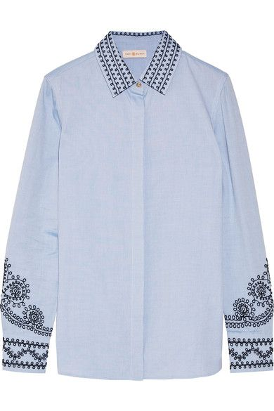 Tory Burch - Keegan Embroidered Cotton-chambray Shirt - Blue - US