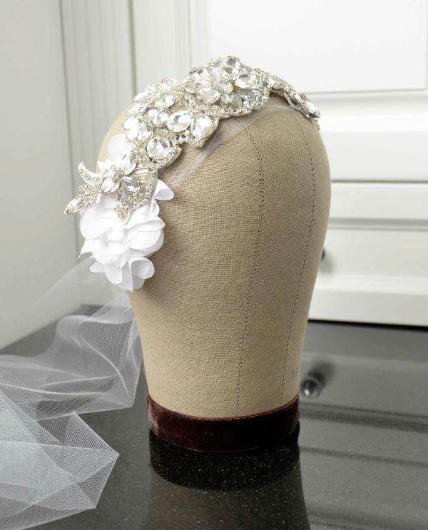 Boho Chic Bride. Beaded, vintage inspired bridal bandeau. Bridal headpiece with petals.