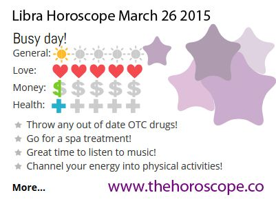 Busy day for #Libra on March 26th 2015 #horoscope …Below you can find the prediction for today and tomorrow! http://www.thehoroscope.co/Libra-Horoscope-today.php http://www.thehoroscope.co/Libra-Horoscope-tomorrow.php