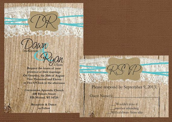 Rustic Wedding Invitation Lace and Burlap by DawnMarieCreations82