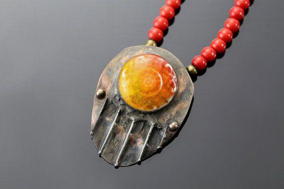 Fire  pendant with copper by SztukKilka on Etsy