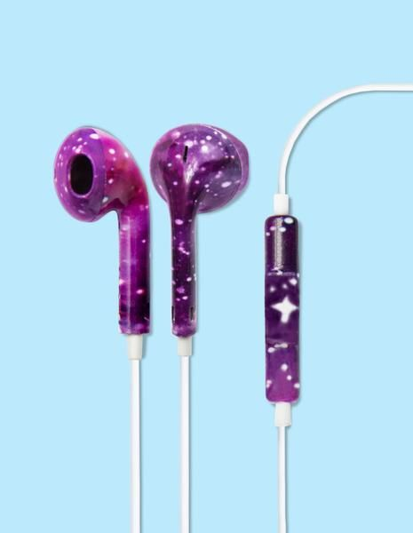 These out of this world Galaxy Printed earbud headphones will keep the jams…