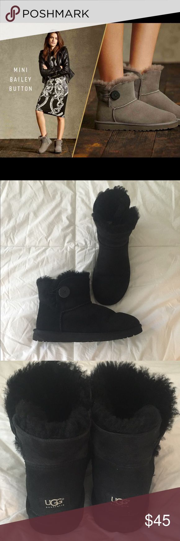 Mini Bailey Button UGGS Authentic Uggs. Bought from the Ugg store a year ago. So comfortable! Good condition. They say size down....so this is a size 9, though I normally wear a size 9 1/2. UGG Shoes Ankle Boots & Booties