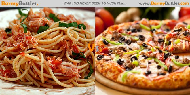 What the world today knows as Pasta & Pizza are the product of a long history of changing connections between Italy and the Americas and between both countries and the wider world. #pizza #pasta VOTE FOR YOUR FAVORTIE: http://www.barmybattles.com/2014/02/14/pasta-vs-pizza/