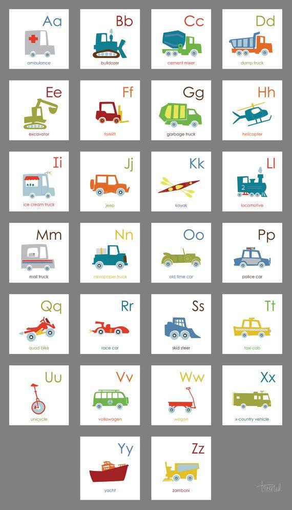 Kids Room Wall Art Vehicle Alphabet Alphabet Border by trestled