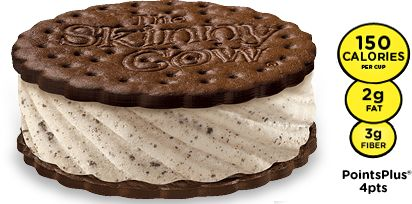 The SKINNY COW®  Cookies 'n Cream Sandwich is the perfect crush. Low-fat vanilla ice cream is mixed with chocolatey cookie bits and sandwiched between big chocolatey wafers.