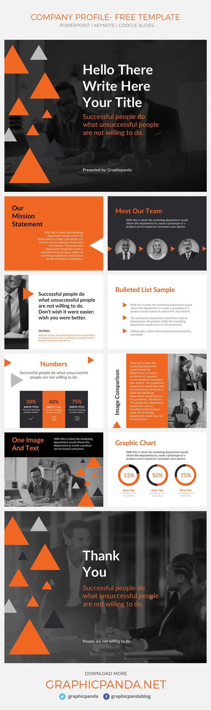 Create a professional presentation in no time with this free Company Profile Google Slides Theme. This simple to use and free presentation template comes also in two extra formats, Microsoft PowerPoint and Apple Keynote. No matter the size of the company you are representing with this free presentation template Company Profile Google Slides Theme and PowerPoint and Keynote, you will be able to introduce your small business or fortune 500 with confidence and professionalism.