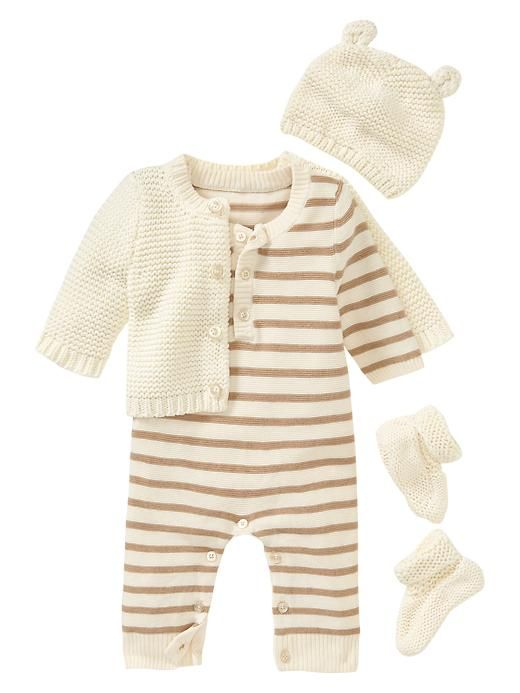 Favorite garter-stitch knit 4-piece set  Color: french vanilla  AUD 101.50   (Super cute but super expensive!)  Baby Gap is great though!