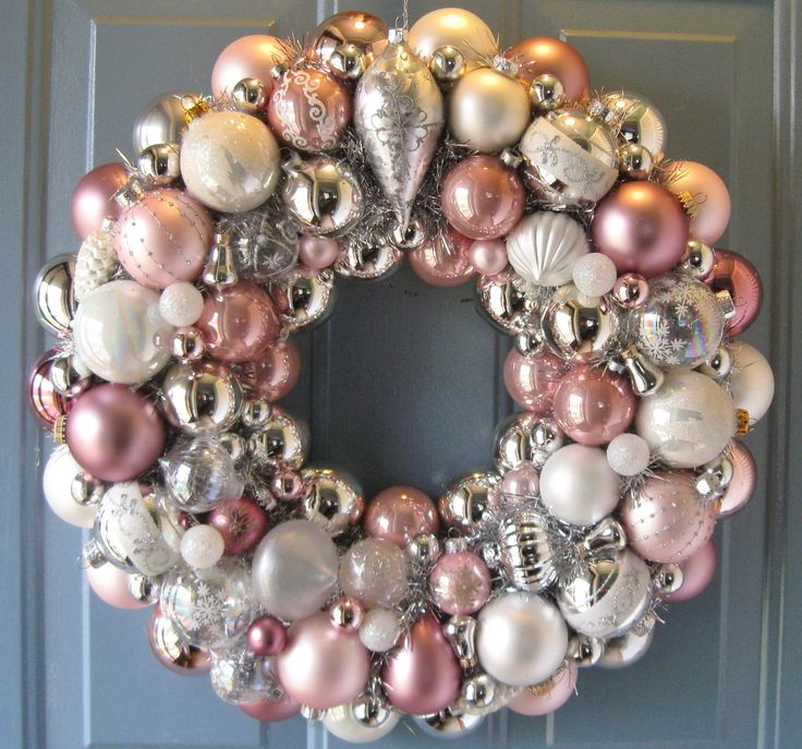 """Beautiful, heirloom quality, hand-made 22"""" wreath is an elegant mix of vintage - 50s to the 80s - and new, glass light and deep pinks, white, clear iridescent, and silver, with silver tinsel peeking through."""