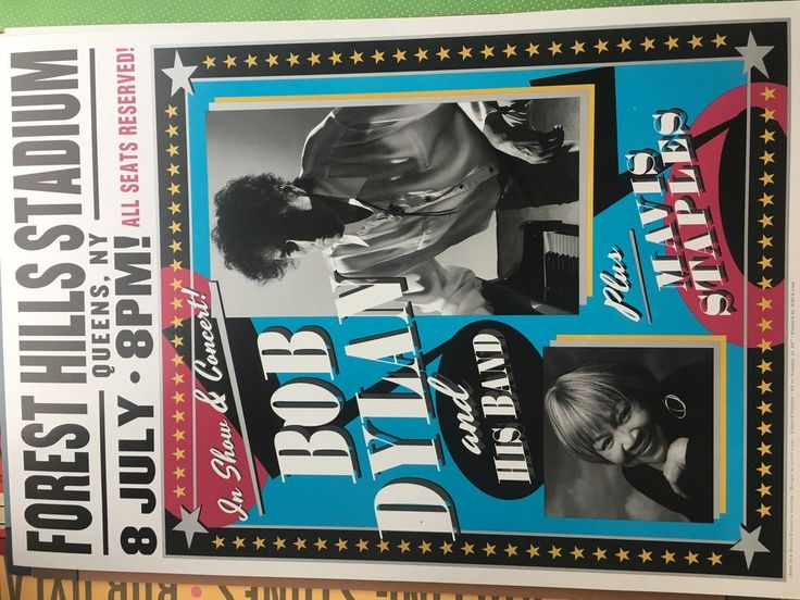 Bob Dylan very rare original poster Forest Hills 2016 New York ticket